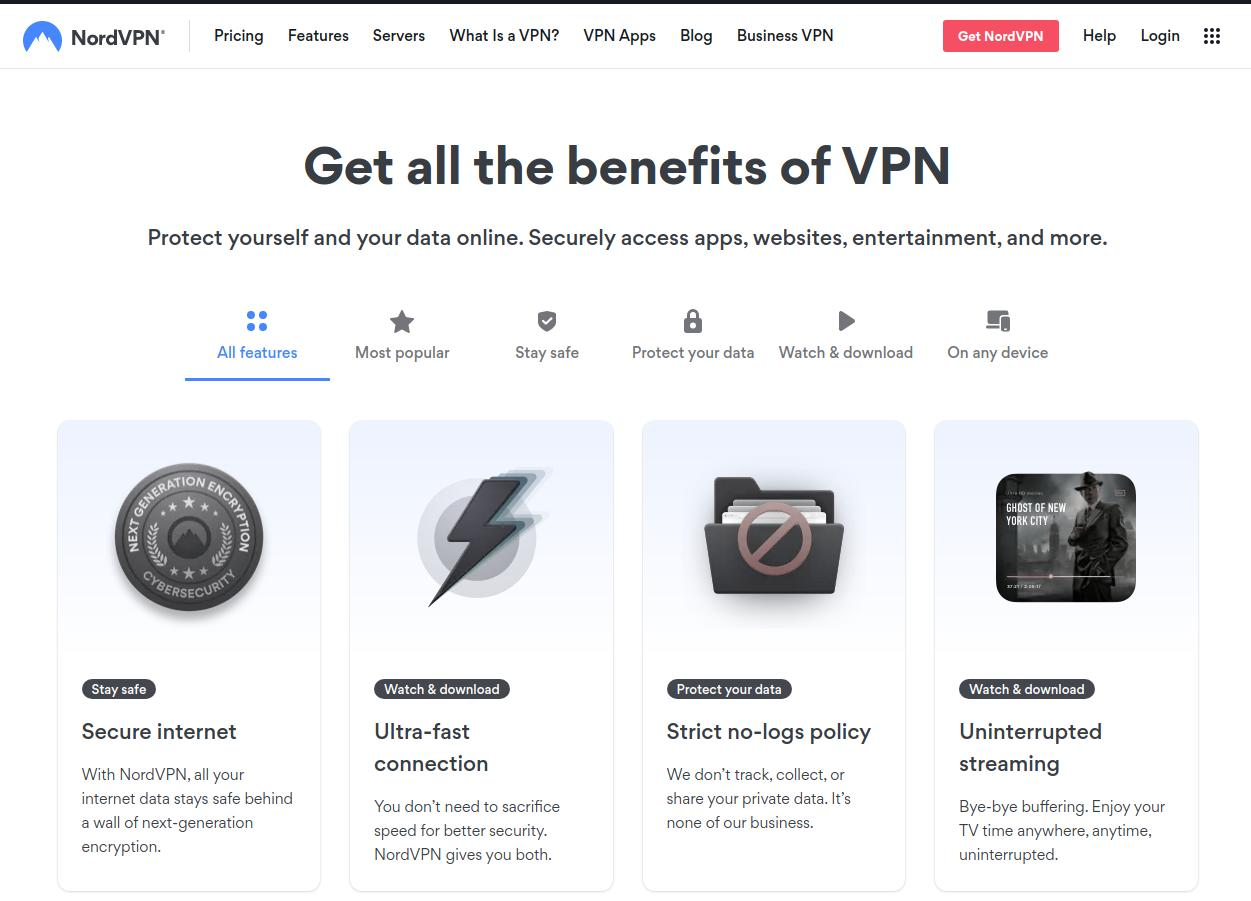 NordVPN Features Page