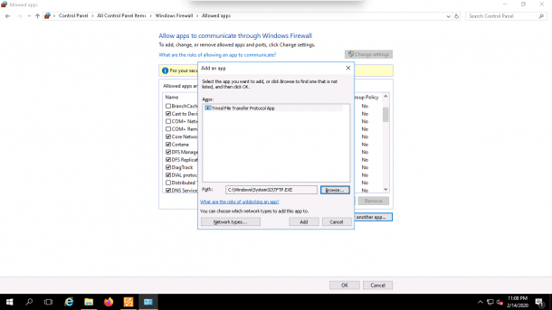 Allow an app or feature through Windows Firewall