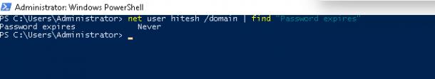 """Net user /domain   find """"Password expires"""""""