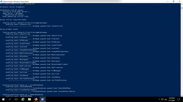 dcdiag Domain Controller test on your local system