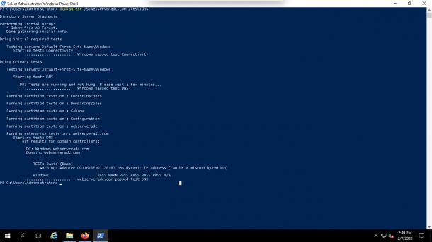 DCDiag to Test DNS