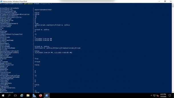 Powershell User Attributes command