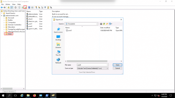 export users to file aduc