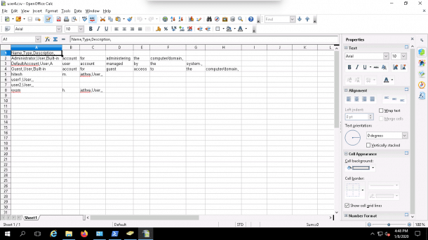 export file contents from the ADUC export