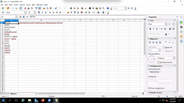 export all AD users and open CSV File example
