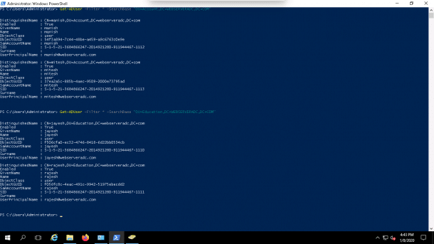 Export ALL Active Directory Users from a specific OU