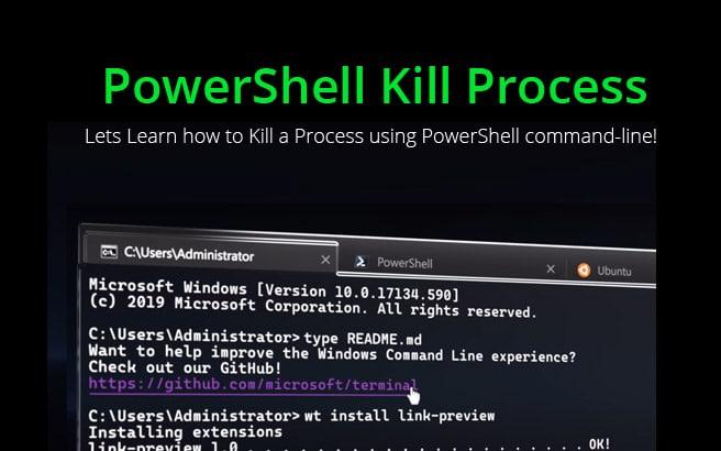 powershell kill process or application
